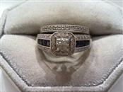 Sapphire Lady's Silver-Diamond & Stone Ring 55 Diamonds .375 Carat T.W.